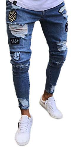Pizoff Herren Superenge Skinny-Jeans in verwaschenem Blau mit Rissen an den Knien, Aa019-blue, S