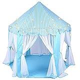 Azul Tipi Tent con Luces LED de Estrella,Casita De Tela para Niños de Rayas Blancas Casa para Niñospara Diversión en Interiores y Exteriores, Juegos Imaginativos y Regalos,140x120x135cm