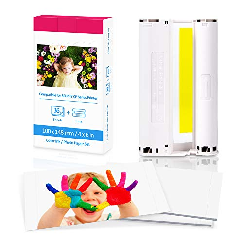 Fimax - Papel fotográfico y cartucho de repuesto para Canon Selphy CP1300 CP1200 CP910, 7737A001 / KP-36IP, 1 cartucho de tinta de color y 36 hojas de papel de impresora (100 x 148 mm)