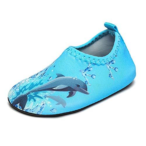 QQSX Zapatos de Playa Zapatos Descalzos para niños con Piso Delgado Zapatos para Nadar Zapatos de río con Fondo Suave Zapatos para niños pequeños (Color : Dolphin, Size : 17-18)