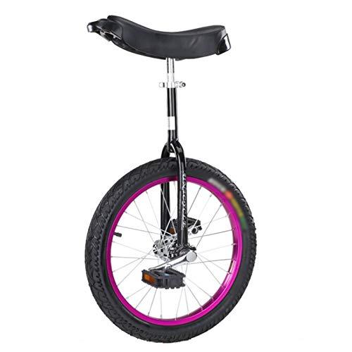 GAOYUY Einrad, Starker Manganstahlrahmen Unisex 16/18/20/24 Zoll Rad Einrad Perfekt for Anfänger/Kinder (Color : Purple, Size : 18 inches)