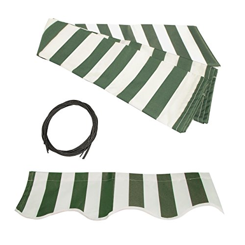 ALEKO FAB12X10GRWT00 Retractable Awning Fabric Replacement 12 x 10 Feet Green and White Striped