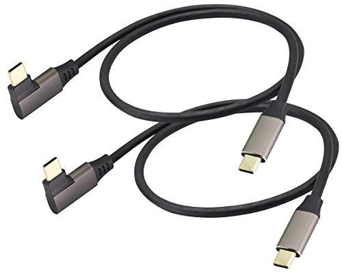 AAOTOKK 90 Grad USB C zu USB C 3.1Kabel Rechtwinklig USB 3.1 Typ C Männlich zu Männlich Verlängerungskabel Schnellladung Kompatibel für Google Pixel 3XL,Samsung Galaxy Note S20,MacBook(0,6M/2Stücke)