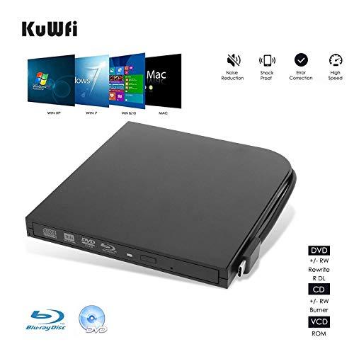 KuWFi DVD Speler, Externe Blu Ray Speler USB3.0 Type-C Dual Interfaces Draagbare Slank Automatische sleuf laden CD/DVD-RAM/BD-ROM Superdrive +/- RW Reader met High Speed Data