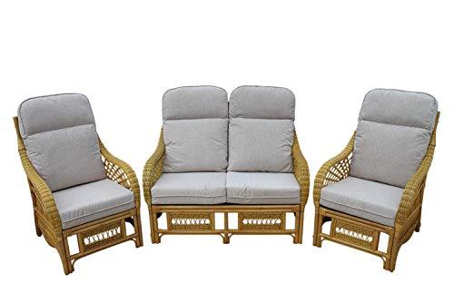 Garden Market Place Portofino Cane Conservatory Furniture 3 Piece Suite-2 Chairs and a Sofa-Cream Colour Fabric, 119 X 80 X99