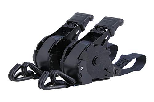 2x Automatik Spanngurt selbstaufwickelnd im Set, 3,65m lang, Gurtbreite 25mm, LC 340 daN, mit Spitzhaken - 2er Set automatische Zurrgurte