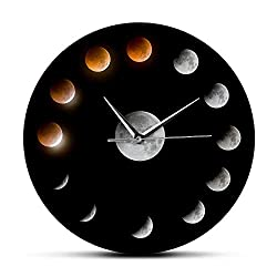 N /A Modern Silent Wall Clock Series of Total Lunar Eclipse Moon Phases Celestial Wall Clock Outer Space Lunar Cycle Home Decor Quiet Wall Watch