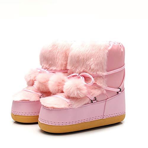 Buty narciarskie, ciepłe buty śniegowe dla dzieci, antypoślizgowe średniej rurki okrągłe buty śniegowe buty do szycia (Color : B, Size : 39-40)