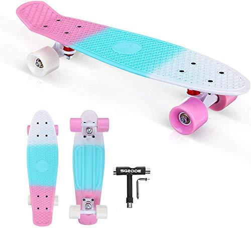 Mini Cruiser Skateboard 22'x6', SGODDE Monopatín Skateboard Complete con Rodamiento ABEC-11 y PU Ruedas, Skateboard Niño Niña, Tabla Skateboard para Principiantes y Adultos (con Herramienta T Skate)