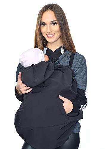 MijaCulture Softshell Tragecover, Universal Bezug für Baby Carrier Tragetücher Cape 4113 (Schwarz)