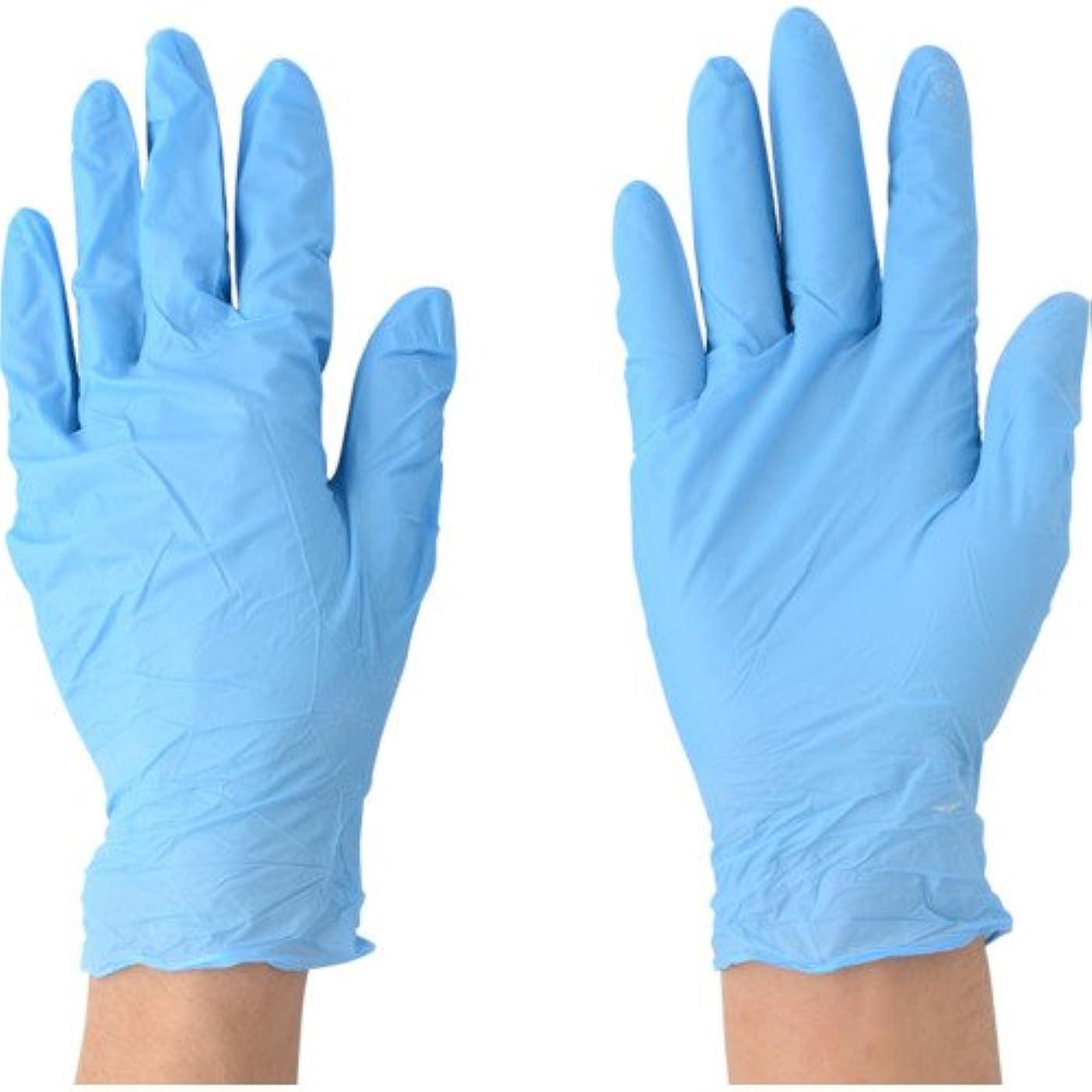 フェッチペデスタル成長川西工業 ニトリル 極薄手袋 粉付 100枚入 #2043 ブルー SS