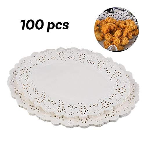 IUwnHceE 100 Stück Papier Deckchen Einweg-weiße Spitze Dekorative Deckchen Oval Dekorpapier Platzdeckchen Masse Für Geschirr, Dekoration Kuchen Verpackung (7.5x10.5 Inch)