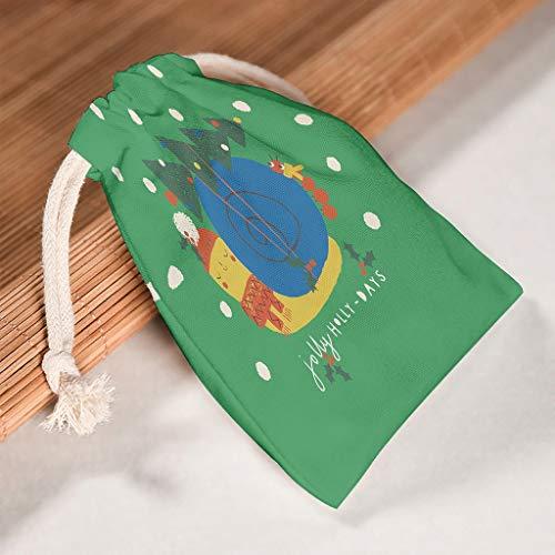 O5KFD & 8 6-pak voor 6 opbergen op canvas koordsluiting doek tas wasbaar Candy Pouch Bags Fit Kerstmis Party gift Wrap Bags - New Year ontworpen gedrukt 12 * 18cm wit