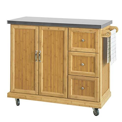 SoBuy FKW81-N Kücheninsel Küchenschrank mit 2 Türen und 3 Schubladen Sideboard mit Edelstahlplatte Küchenwagen aus hochwertigem Bambus BHT ca.: 116x95x46cm