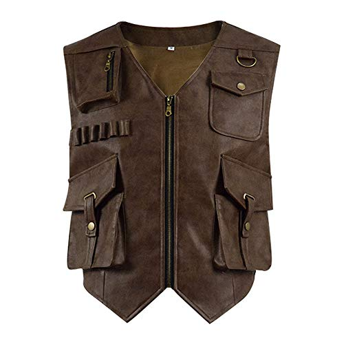YANGGO Mens Leather Vest Costume Brown Halloween Cosplay for Adult (US-XL, Brown)