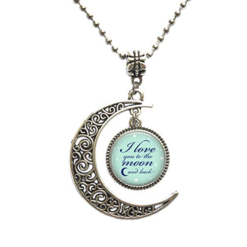 I Love You to The Moon and Back Necklace,Inspirational Quote Necklace, Mother's Day,Quote Necklace, Gift for mom Necklace,PU102