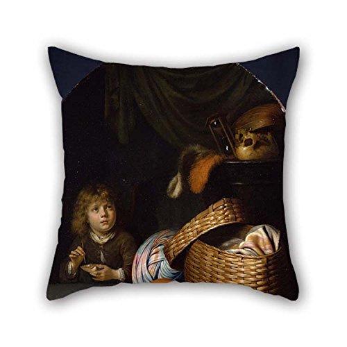 Pintura al óleo Gerard Dou - Naturaleza Muerta con un niño soplando Burbujas de jabón Funda de Almohada Ambos Lados es Apta para la Oficina Sofá Pub Sala de Juegos Monther Teens Girls