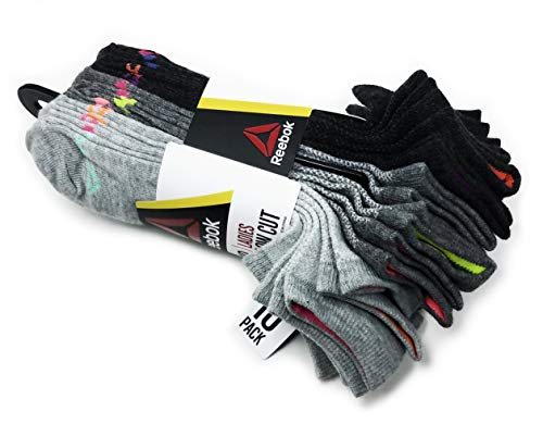 Reebok Ladies 10Pairs Low Cut Socks, Assorted (Shoe size: 4-10, Sock size: 9-11)