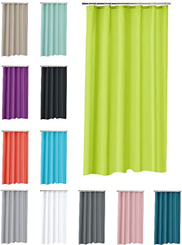 one-home Duschvorhang 180x200 cm wasserdicht Uni Badewannen Vorhang inklusive 12 Ringe, Farbe:grün/Lime