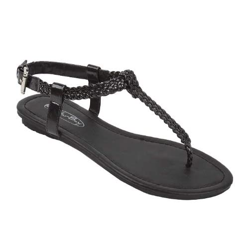 9792f0975 sunville New Women s Gladiator Sandals Flats Shiny Faux Leather Upper