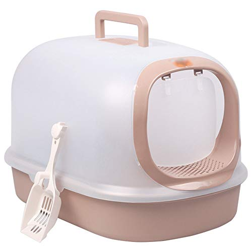 Quskto Pet Potty Lade Hooded Pet Cat Litter Box Systeem Dubbele Laag Cat Litter Pan Met Voordeur En Anti-Spray Pad Geschikt voor Thuis Of Huisdier Winkels, Etc. Eenvoudig schoon te maken.