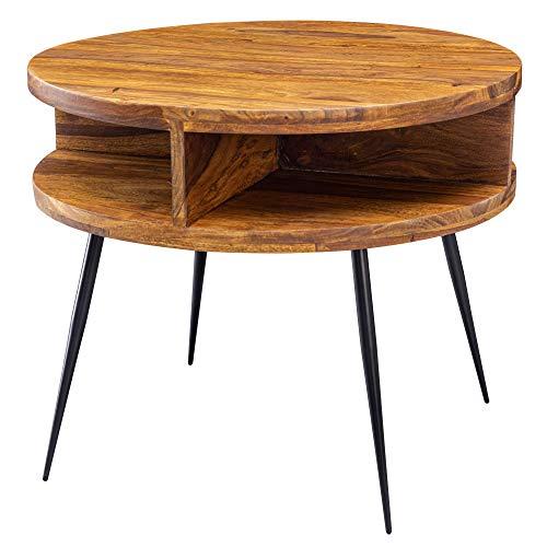 FineBuy Couchtisch Sheesham Massivholz/Metall 60x45x60 cm Tisch Wohnzimmer | Design Beistelltisch mit Ablage | Kleiner Wohnzimmertisch Rund Braun