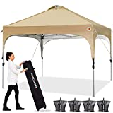 ABCCANOPY Canopy Tent 10x10 Pop Up Canopy Outdoor Canopies Super Comapct Canopy Portable Tent Popup Beach Canopy Shade Canopy Tent with Wheeled Carry Bag Bonus 4xWeight Bags,4xRopes&4xStakes, Beige
