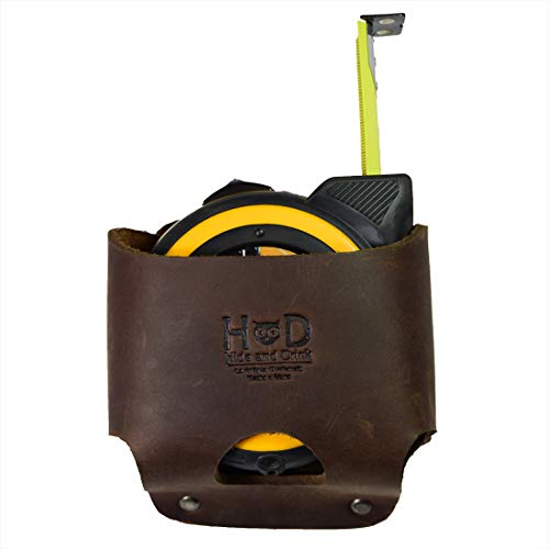 Hide & Drink, Large Leather Tape Measure Holder, Tool Holster w/ Easy Belt Loop for Handymen, Carpenters, Electricians, Durable Hammer Pouch, Handmade Includes 101 Year Warranty :: Bourbon Brown