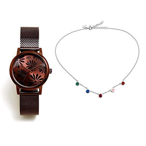 Set Agatha Ruiz de la Prada AGR262 Uhr Schokolade Halsband 925m silberfarbene Kreise Act - Modell: AGR262