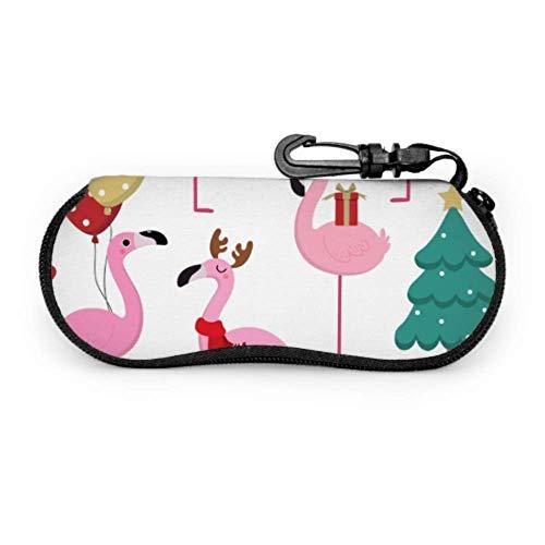 Lindo rosa en Navidad vacaciones Slim Eyegses caso hombres Sungs caso ligero portátil neopreno cremallera suave caso casos para gafas de sol