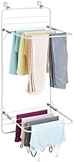 mDesign sèche-linge pour porte – étendoir à linge peu encombrant à accrocher en métal et plastique – séchoir à linge pour ...