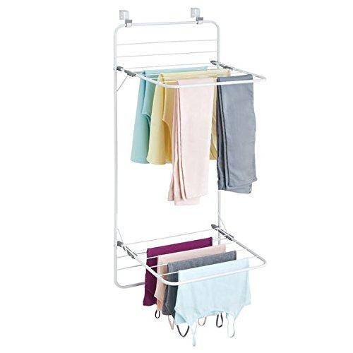 mDesign Tendedero de ropa para colgar – Colgador de ropa con mucho espacio para la colada – Tendedero vertical para la lavandería y para habitaciones pequeñas – Fabricado con metal y plástico – Blanco