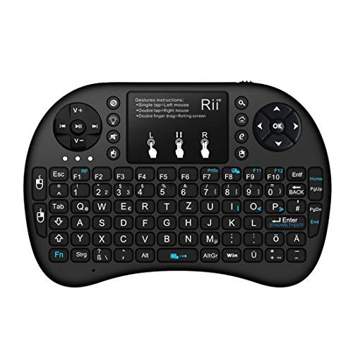 Rii Mini i8+ Bluetooth Schwarz mit Hintergrundbeleuchtung - Mini Wireless Tastatur mit Multitouch Touchpad perfekt für KODI, XBMC, Smart TV, Raspberry Pi, Mini PC, HTPC, Mac, Linux, Android, Windows 7, 8, 10 (Bluetooth schwarz)
