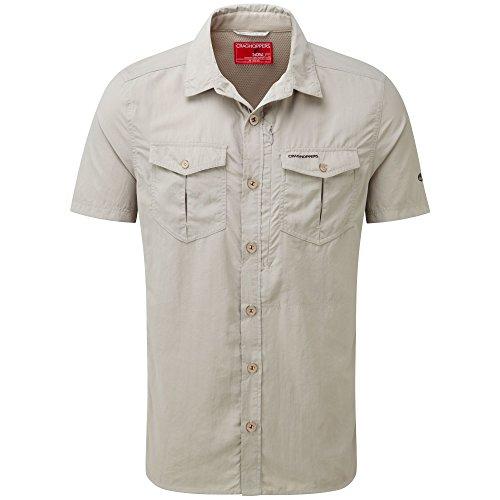 Craghoppers M NosiLife Adventure Kurzarm Hemd Beige-Weiß, Herren Hemd, Größe S - Farbe Parchment