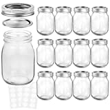 KAMOTA Mason Jars 16 oz With Regular Lids and Bands, Ideal for Jam, Honey, Wedding Favors, Shower Favors, Baby Foods, DIY Magnetic Spice Jars, 12 PACK, 20 Whiteboard Labels Included