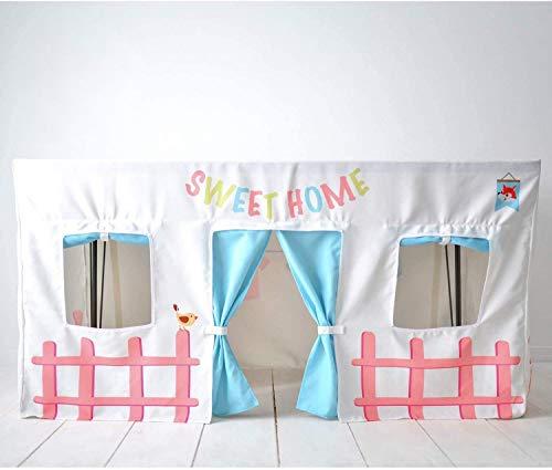 Casitas Infantiles Tela Tienda Campaña Infantil - Mantel Casa Rectangular Interior Niños Plegable para Juegos Cumpleaños Carpa Comedor Adaptable con Velcros (Sin Estructura) 120 cm+75 cm