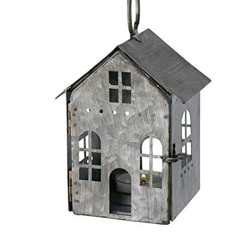 Lanterna in metallo, portacandela antivento, in zinco, a forma di casetta, da appendere, altezza 13,5 cm
