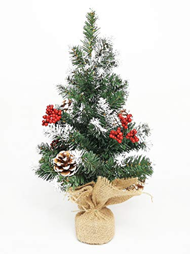 Leaflai Chrismas Trees, 2ft Christmas Tree Decorations Table Top Artificial Xmas Tree with Base for Table, Fireplace, Indoor Decoration