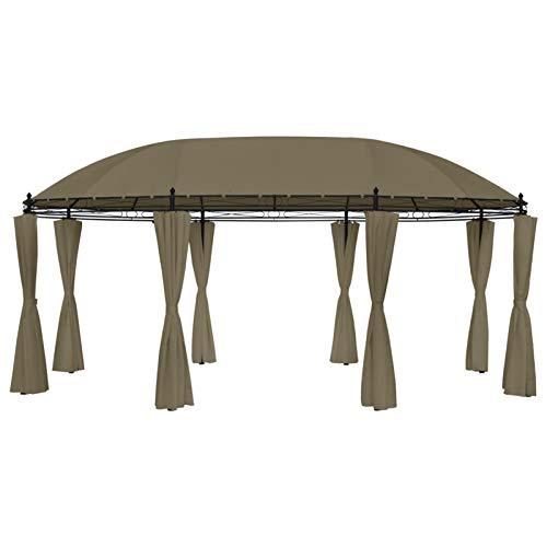 Festnight Cenador con Cortinas | Carpa de Jardín | Cenador de Jardín Gris Taupe 180g/m² 5,3x3,5x2,65 m