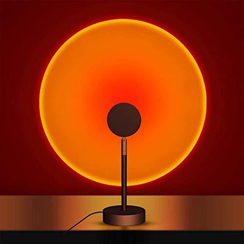 QAZW Lámpara Sunset, Lámpara LED Proyector de Luz Nocturna con Rotación de 180 °, Luz de Proyección Al Atardecer, Luz del Atardecer para El Hogar, Sala de Estar, Cuarto, USB,Sunset
