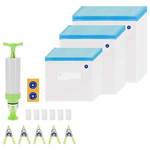 INKBIRD Sous Vide-Beutel, 30 wiederverwendbare Vakuum-Aufbewahrungsbeutel für Lebensmittel für Anova-, Chefsteps- und Joule-Kocher, 3 Größen Sous Vide-Beutel-Kit mit 1 Handpumpe
