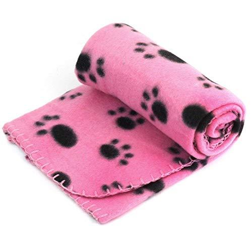 NINIWA Manta de forro polar para mascotas con estampado de patas, para cachorros y otros animales pequeños, color rosa, 60 cm x 70 cm