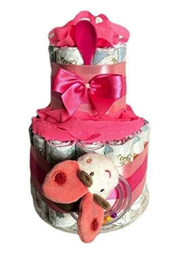 WindeltortenZauber - Tarta de pañales para niñas, regalo para bebés, baby shower, bautizo, nacimiento, souvenirs.