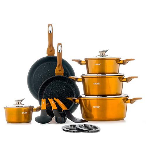 DMS® 15-teilig Induktion Kochgeschirr Kochset Töpfe Pfannen Set Bratpfanne Kasserolle Suppentopf mit Glasdeckel 3 Küchenutensilien 2 Topfuntersetzer Marbel Beschichtung Spülmaschinengeeignet (Kupfer)