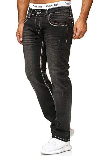 OneRedox Herren Jeans Denim Slim Fit Used Design Modell 5173 32