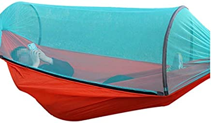 SODIAL Outdoor Equipment Camping Hammock With Mosquito Nets Automatic Speed Open Anti-Mosquito Double Hammocks Hammock Tent Bundled With Insect Nets 270X140Cm - Orange