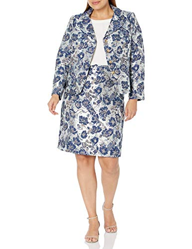 Tahari ASL Women's Nested 4 Button Jacquard Jacket and Pencil Skirt, White Navy Metallic, 8