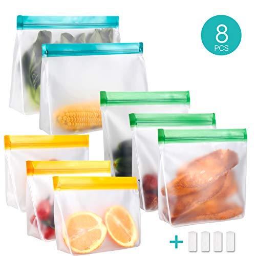 Meowoo Lebensmittel Beutel Groß Gefrierbeutel Sandwich Tasche 8PCS Koch Küche Wiederverwendbare PEVA Waschbar Food Storage Bag für Obst Gemüse Fleisch Snacks, Ohne BPA