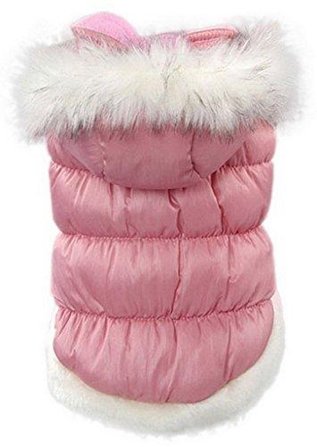 La vogue Chaqueta Acolchada Abrigo Para Perro Con Capucha Piel (Rosa, M)