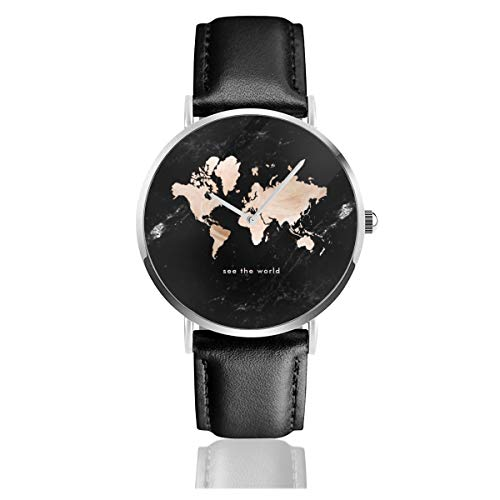 Armbanduhr mit Weltkarte und schwarzem Marmor-Akzent-Leder-Armband, lässig, klassisch, Edelstahl
